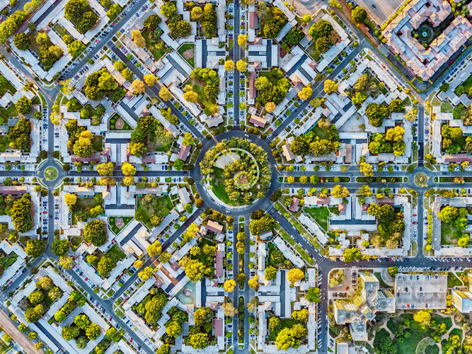 cover image jeffrey milstein's aerial photos of LA reveal differences across neighborhoods